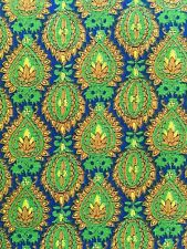 VIP Fabrics, Inc. Geometric Peacock Fabric - Gold Green Royal Blue - 2 1/3 Yards
