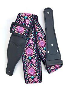 Wedgie Jacquard Weave Vintage Guitar Strap with Guitar Pick Holder, Pink