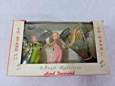 Lot of 3 Vtg Angels Musicians Instruments in Box Plastic Hong Kong Kresge Co
