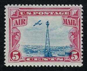 1928 Beacon Air Post Low-flying Plane Blue Vignette Design Shift Stamp MNH! #C11