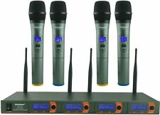 Wireless Microphone System 4 Channel VHF Wireless Microphone Set with 4  Mics