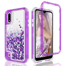For Samsung Galaxy A01 Clear Case Liquid Glitter Bling Cover+Full Tempered Glass