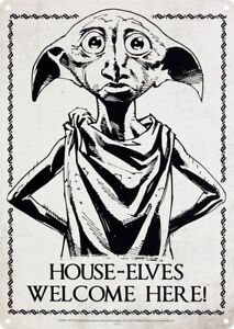 HARRY POTTER House Elves/Dobby Welcome Here A5 Metal Wall Sign. Collectable/Gift