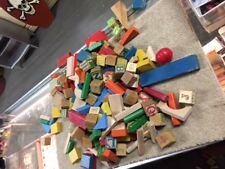 VINTAGE mixed LG over 200 Lot- Playskool & others Alphabet Blocks Wood 1970s-B72