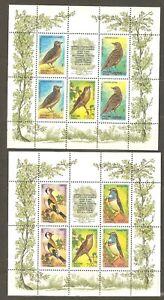 Russia: 2 mint sheets, 1995, songbirds, Mi#440-444, MNH.