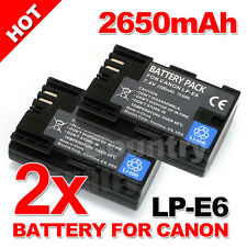 2 Pack 2650mAh LP-E6 Battery for Canon EOS 5D Mark III II 6D 60D 7D Mark II 70D