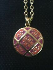 "Tory Burch Gold Plated Lacquered Tory ""T"" Disc Necklace"
