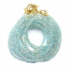 Aquamarine Necklace or Wrap Bracelet 14k GF Three Strand Adjustable 7 8 22 Inch