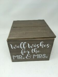 Wedding Card Box Well Wishes For The Mr. and Mrs. Rustic Wooden Brown (defects)
