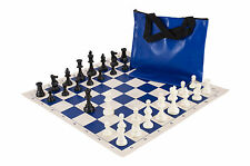 Standard Chess Set Combination - Triple Weighted - Royal Blue Board / Bag