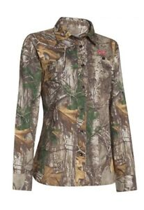 $80 Under Armour Performance Button Down Field LARGE Shirt CAMO Womens 1253209