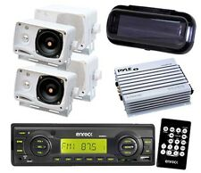 "200W Enrock Motorcycle Radio USB AUX 4x 3.5"" Box Speakers w/Amp Cover Remote Kit"