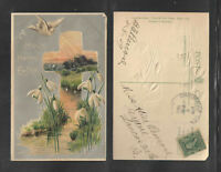 1909 A HOLY HAPPY EASTER { DOVE + CROSS + LILIES } POSTCARD UNIONVILLE CENTER OH