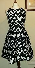 KATE SPADE NY MADISON AVENUE COLLECTION CHEVRON ALANI MINI DRESS Black Size 14