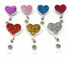 7 pack Glitter Bling Love Heart Retractable ID Badge Reel Holder Swivel Clip