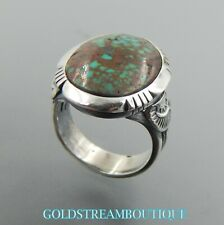 Handcrafted sterling silver green oval turquoise delicate stamped solid ring 8.5