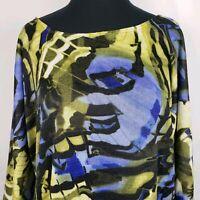 Fashion Bug Womens Size XL Tunic Top Asymmetrical Hem Water Color Print Blouse