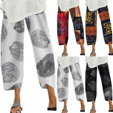 Womens Summer Holiday Baggy Trousers Wide Leg Gypsy Boho Hippie Pants Casual US