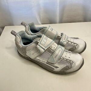 LOUIS GARNEAU Triathlon Women's Size 9 Cleat Cycling Shoes White Ergo Grip