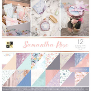 """Diecuts With A View DCWV Paper Stack Double-Sided 12""""X12"""" 36/Pkg-Samantha Rose,"""