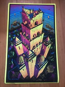 M C Escher Victory Tower Blacklight Vintage Poster Psychedelic 1960