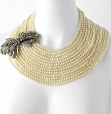 NEW Heidi Daus Best in Bows 13 Strand Simulated Pearl Collar Swarovski Necklace