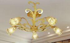 Plafoniera classica in metallo foglia oro anticata e vetri coll. Dese 4430-5PLG