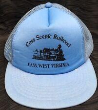 Vtg Trucker Hat Cap Cass Scenic Railroad West Virginia Snapback Blue Mesh