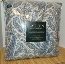 Ralph Lauren Comforter Set Queen Shams Abstract Paisley Blue White Cotton Stripe