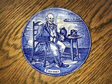 Enoch Wedgwood Blue & White Miniature Plate Dish Farmer Vintage