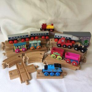 39 Pcs Wood Railroad Track & Cars Lot Brio Thomas Sesame Street Magnetic Vtg