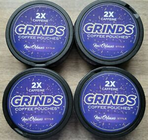4 Containers of Grinds Coffee Pouches New Orleans 2x Caffein Seen Shark Tank New