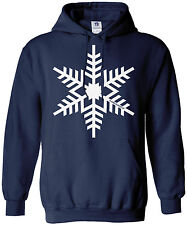 Threadrock Men's White Snowflake Hoodie Sweatshirt Winter Christmas Snowman