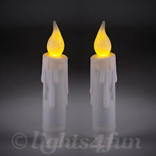 Pair Of Battery Operated Flickering LED 12cm Taper Dinner Candles With Timer