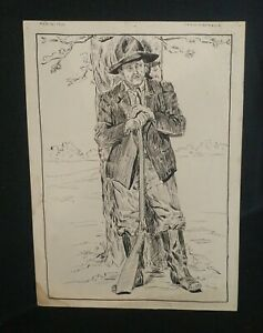Jennie A. Kernick Feb 16 1916 Ink Illustration Man with Long Rifle Original Art
