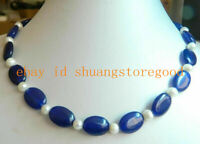 AAA Beautiful 13x18mm Oval Sapphire & Natural Pearl Necklace 18''