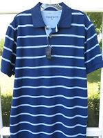 Charles Tyrwhitt Men's Cotton Navy Blue Striped Pique Polo Shirt Medium NWT NEW