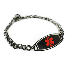 MyIDDr - Engraved ID Bracelet, Taking Warfarin, Steel Black ID & Curb Chain