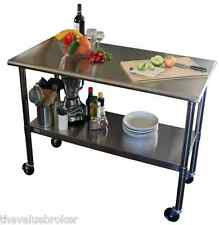 Cart Stainless Steel Table Rolling Prep Kitchen Island Commercial Locking Wheel