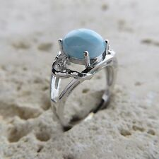 Size 8, Size P 1/2, Size 57, Blue LARIMAR Ring, w/ CZ, 925 STERLING SILVER #0478