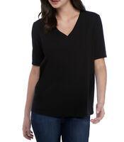 EILEEN FISHER Black Slubby Organic Cotton Jersey V-neck Tee Women's XS X Small