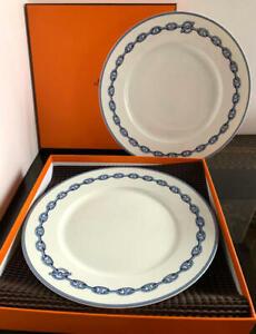 "HERMES Dinner Plate Chaine D'Ancre Blue Tableware Dish 2 set Porcelain 11"" Ex++"