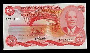MALAWI  5 KWACHA 1981  PICK # 15d XF.