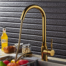 Swivel Gold Kitchen Pull Out Basin Sink Brass Faucet Mixer Single Hole Taps