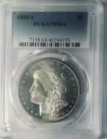 1880-S Morgan Silver Dollar - PCGS  MS-64  - Mint State 64