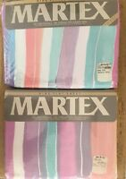 Vintage King Flat And Fitted Sheets Windrifts III Pastel Stripes Martex