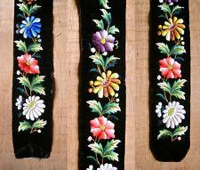 Antique French Embroidered Velvet Band / Belt / Panel,Flowers