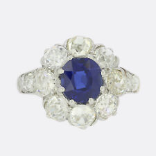 Gold Diamond Ring - 0.90 Carat Sapphire and Diamond Cluster Ring 18ct White Gold