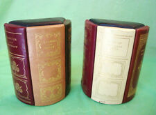 """Pair FULL LEATHER """"CLASSIC BOOK SPINE"""" BOOK ENDS Weighted HEAVY Outstanding"""