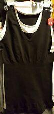 NEW! marilyn monroe  2 seamless shaping cami~ nylon  tank  white/black size L